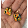 Lava Dichroic Glass Earrings with 14k Gold filled hooks