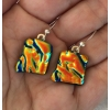 Lava Dichroic Glass Earrings with Sterling Silver Hooks