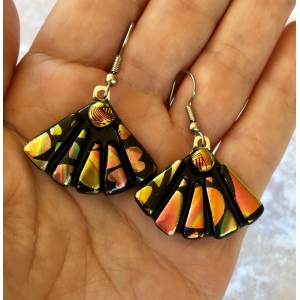 Dichroic Glass Earrings Picasso Style Fans with Surgical Steel Hooks