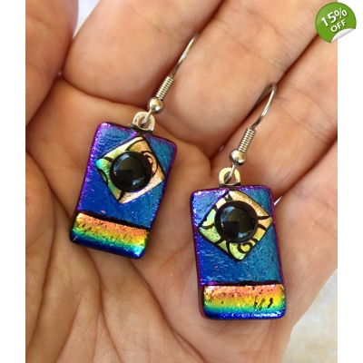 Dichroic Glass Picasso Style Earrings with Surgical Steel Hooks
