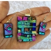 Picasso Style Dichroic Glass Pendant and Earring Set includes necklace