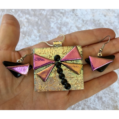 Dragonfly Picasso Style Dichroic Glass Pendant and Earring Set