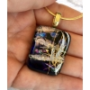 Floral Dichroic Glass Pendant includes necklace