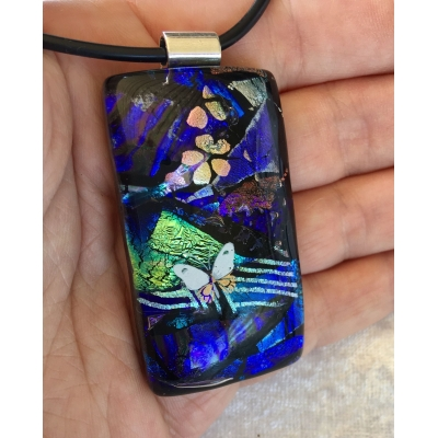 Abstract Butterfly Dichroic Glass Pendant includes necklace