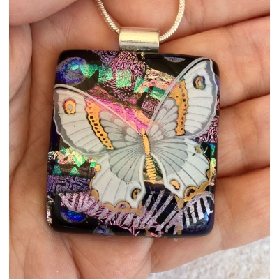 Large Butterfly Dichroic Glass Pendant includes necklace