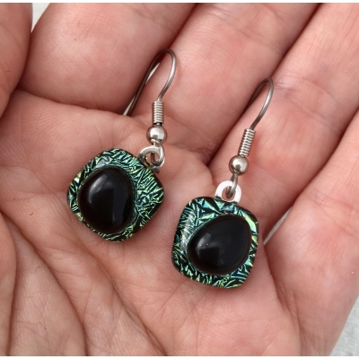 Dimensional Dichroic Glass Earrings with Surgical Steel Hooks