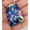Dragonflies Dichroic Glass Pendant includes necklace