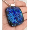 Blue and Black Dichroic Glass Pendant includes necklace