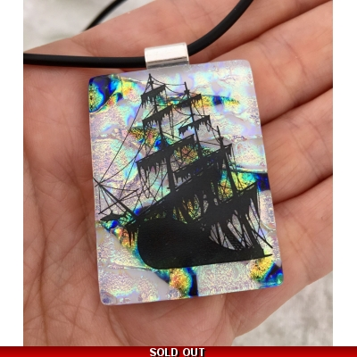 Ship Dichroic Glass Pendant includes necklace