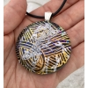 Round dragonfly Dichroic Glass Pendant includes necklace