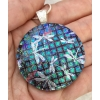 Round dragonflies Dichroic Glass Pendant includes necklace