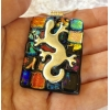 Patchwork Gecko Dichroic Glass Pendant includes necklace, Picasso Style
