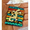 Gecko Dichroic Glass Pendant includes necklace, Picasso Style