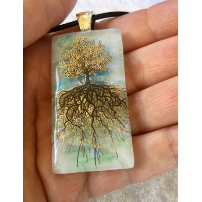 Tree of Life Dichroic Glass Pendant includes necklace