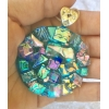 Large Round Dichroic Glass Pendant includes necklace, Picasso Style