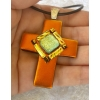 Cross Dichroic Glass Pendant includes necklace, Picasso Style