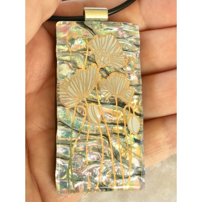 Flowers Dichroic Glass Pendant includes necklace