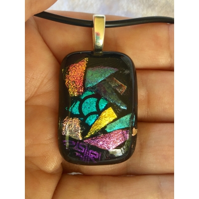 Small Mosaic Dichroic Glass Pendant includes necklace