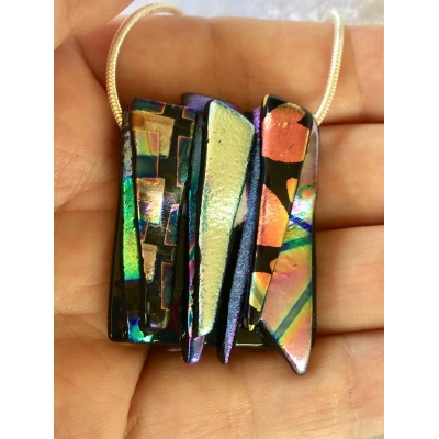 Dichroic Glass Pendant includes necklace, Picasso Style