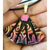 Fan Dichroic Glass Pendant includes necklace, Picasso Style