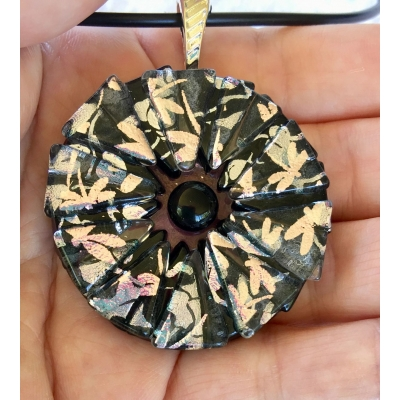 Round Dichroic Glass Pendant includes necklace, Picasso Style