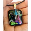 Mosaic Dichroic Glass Pendant includes necklace