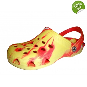 Red Tie Dye Shoes Clogs Sandals Mules Cloggis Fl..
