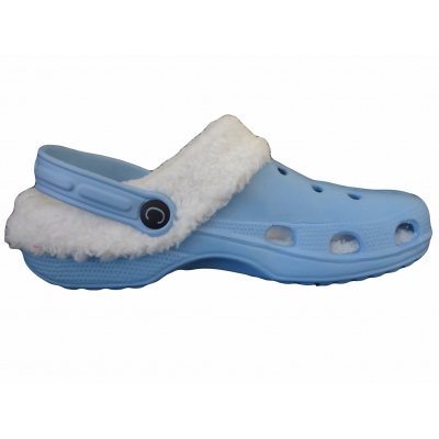 Fur Lined Clogs Furry Slippers Blue Garden Shoes Mules Cloggis