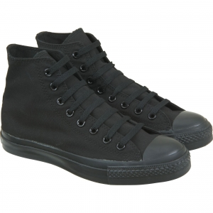 All Black Boots Trainers Canvas Hi-Tops Lace Up Mono Shoes