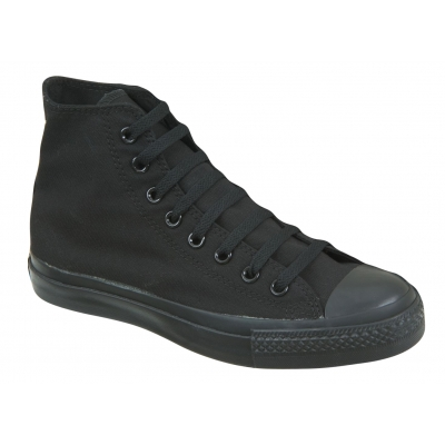 Canvas Lace Up Shoes Trainers Ankle Boots All Black Baseball Pumps