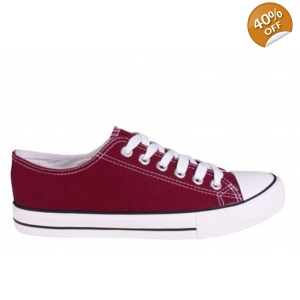 Canvas Lace Up Pumps Plimsolls Burgundy Low Top Baseball Trainers