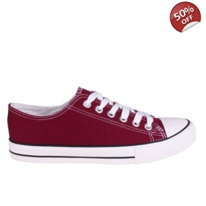 Canvas Lace Up Pumps Plimsolls Burgundy Low Top ..