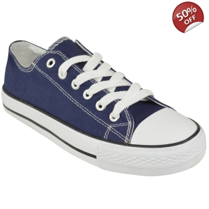 Navy Canvas Trainers Shoes Baseball Plimsolls La..
