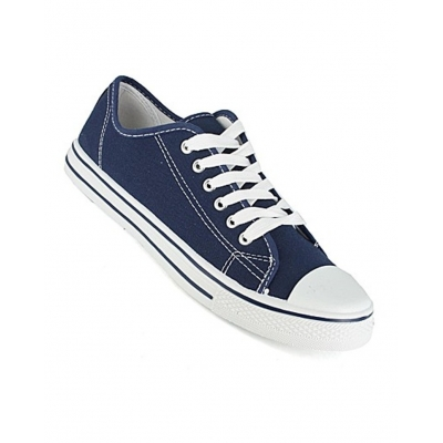 Navy Canvas Trainers Shoes Baseball Plimsolls Lace Up
