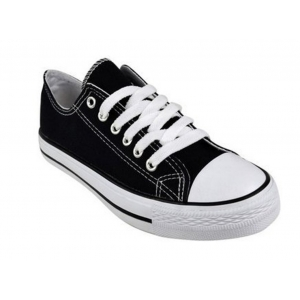 Canvas Lace Up Black White Low Top Retro Baseball Trainers