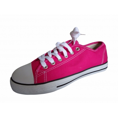 Pink Canvas Trainers Baseball Style Shoes Plimsolls New Lace Up