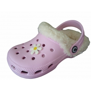 Childrens Kids Beach Clogs Furry Fur Lined Slippers Shoes Cloggis