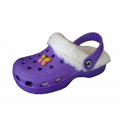 Kids Furry Fur Lined Slippers Clogs Beach Slip On Sandals Shoes