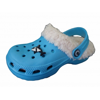 Childrens Kids Furry Fur Lined Slippers Clogs Sandals Shoes