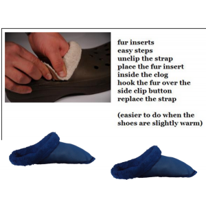 Replacement Liners Insoles Navy Fur Inserts For Clogs Crocs Mules