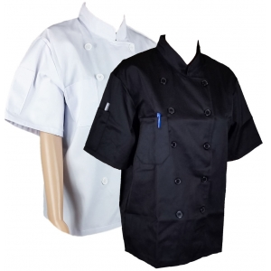 Quality Chef Jacket Unisex Short Half Sleeves Pocket Chefwear Coat