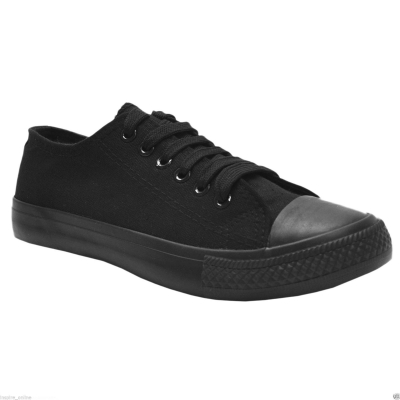 Canvas Trainers Lace Up Low Top Black Plimsolls Baseball Boots