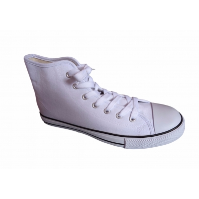 Unisex White Canvas Trainers High Top Ankle Boots Baseball Pumps