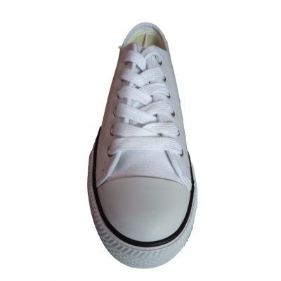 White Canvas Lace Up Pumps Plimsolls Low Top Retro Baseball Trainers