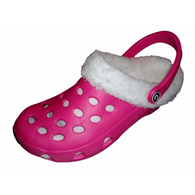 Fur Lined Clogs Winter Furry Mules Fushia Cloggis Shoes Slippers