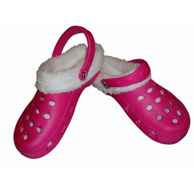 8e34202b4ca079 Fur Lined Clogs Winter Furry Mules Fushia Cloggis Shoes Slippers