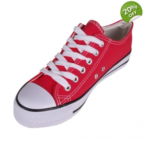 Red Canvas Lace Up Pumps Plimsolls Low-Tops Retr..