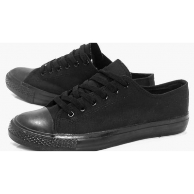 Unisex Black Canvas Trainers Lace Up Low Top Plimsolls Baseball