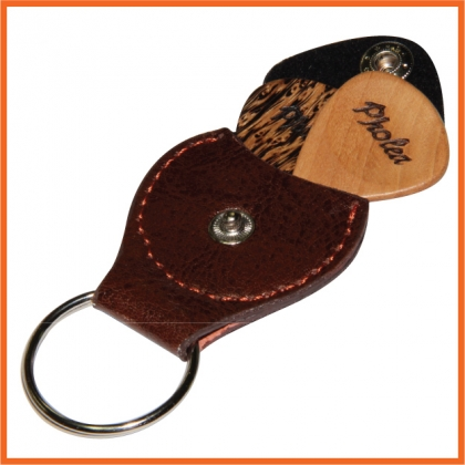 Guitar Pick Holder Key Ring With 2 Handmade Timber Picks