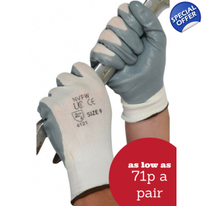 Grey Foam Nitrile Gloves
